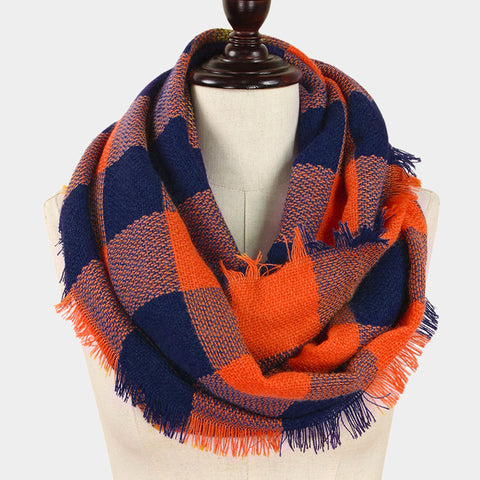 Orange and Navy Infinity Scarf