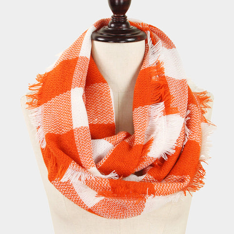 Orange and White Infinity Scarf