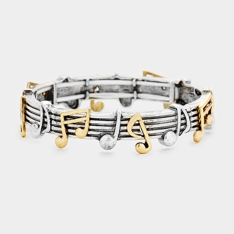 Silver Music Note Stretch Bracelet