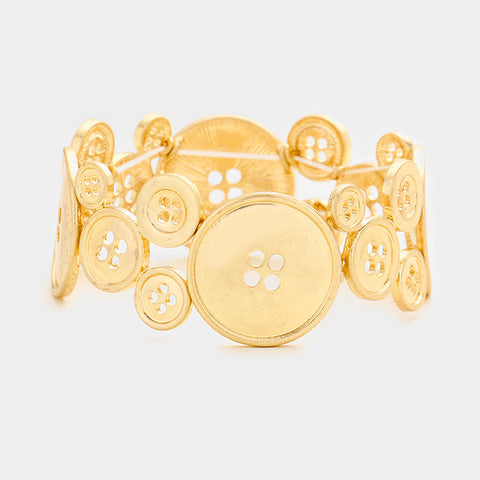 Worn Gold Button Stretch Bracelet