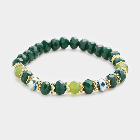 Green Beaded Stretch Bracelet