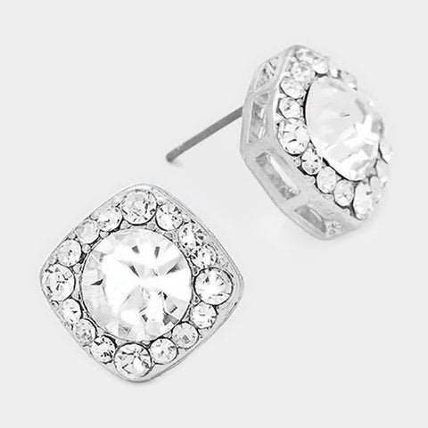 Crystal Cut Stud Earrings