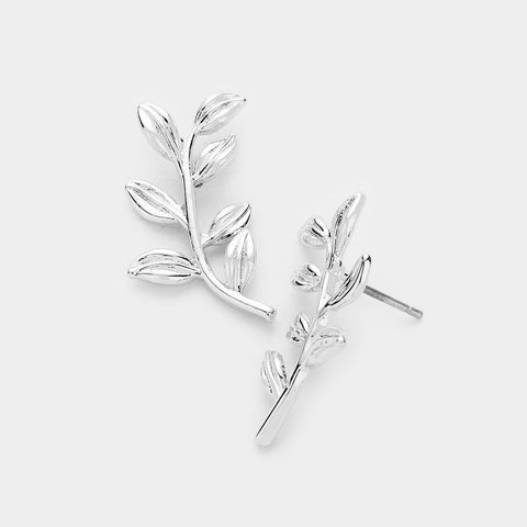 Sprout Leaf Stud Earrings