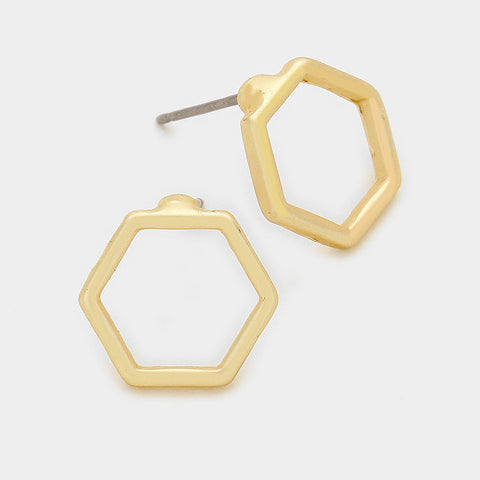 Hexagon Gold Studs