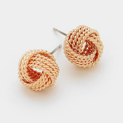 Rose Gold Textured Knot Earrings