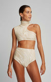 Off White Embroidered Runway Top and Embroidered Runway Hot Pants Bottom