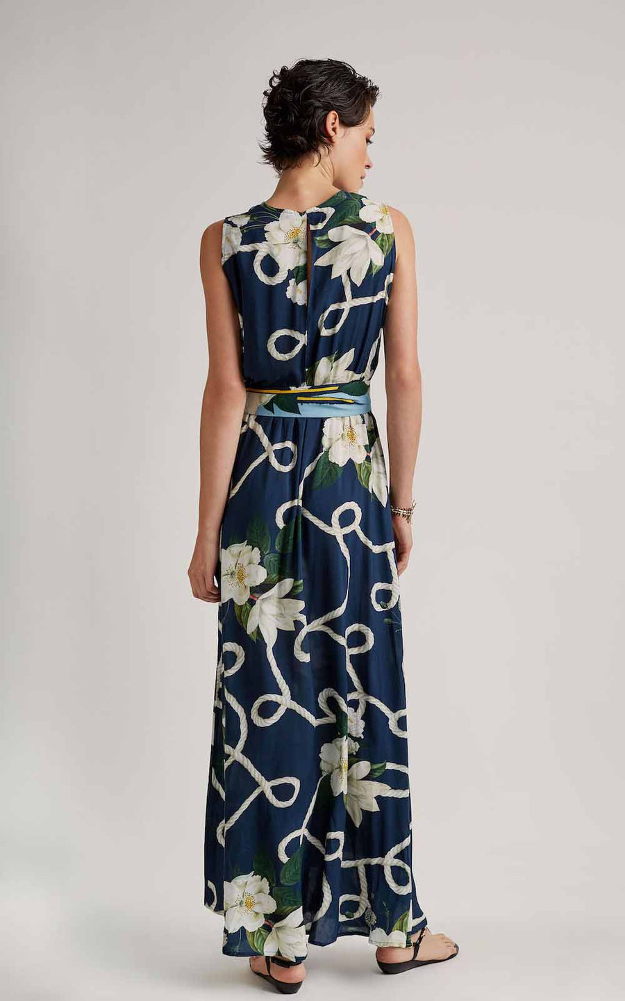 NAVY DEEP V NECKLINE MAXI DRESS