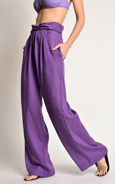 Amethyst Tie High Waist Wide Leg Linen Pants