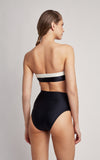 Black Bicolor Bandeau Top and High Waist Bottom