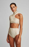 Off White Bikini Embroidered Runway Top and Embroidered Runway Hot Pants Bottom