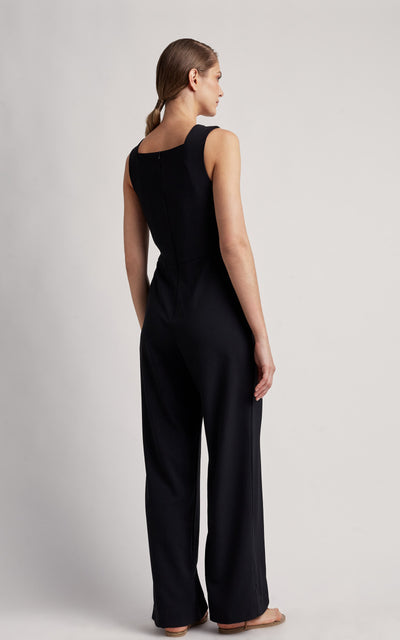 Black Square Neckline Jumpsuit