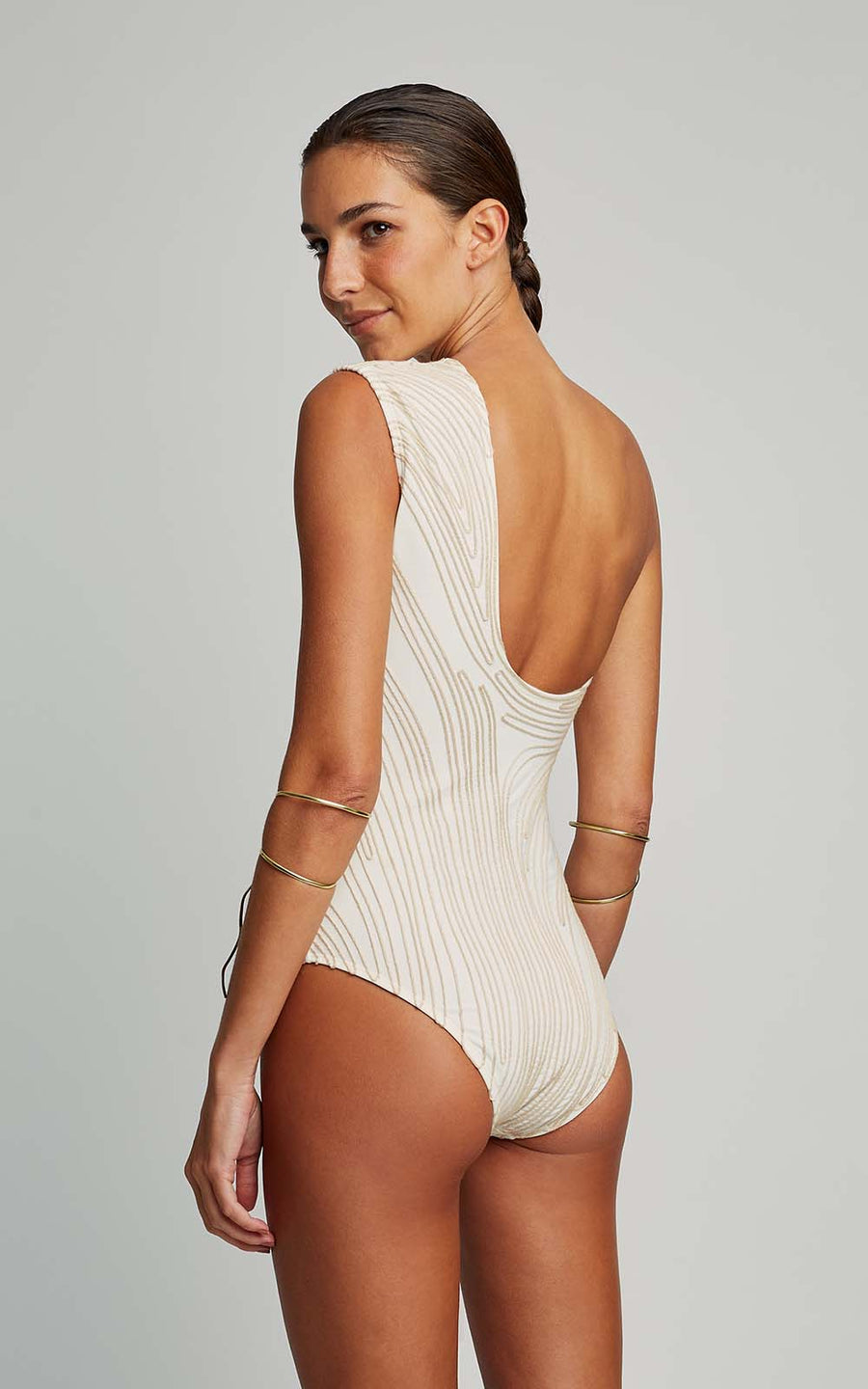 Off White Embroidered Runway One Piece Swimsuit