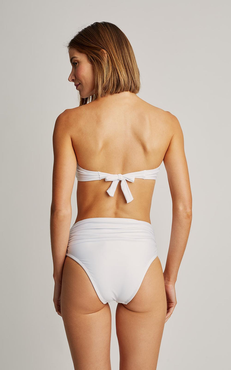 White Bikini Embellished Bandeau Top and High Waist Bottom