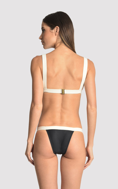 Black & Off White Bikini Fixed Triangle Color Block Top