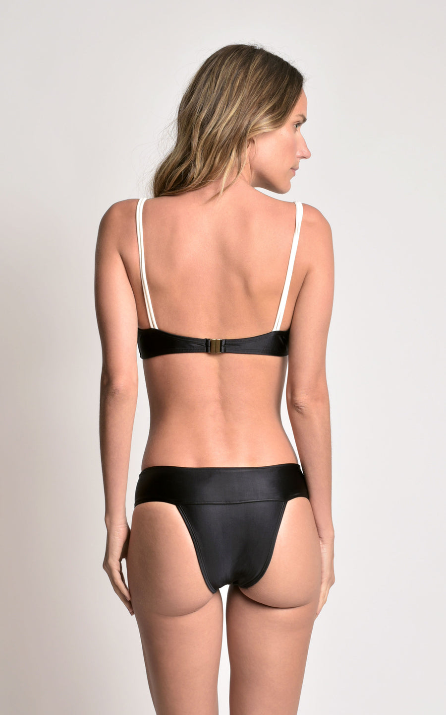 Black Button Paneled Bikini Top and Bottom