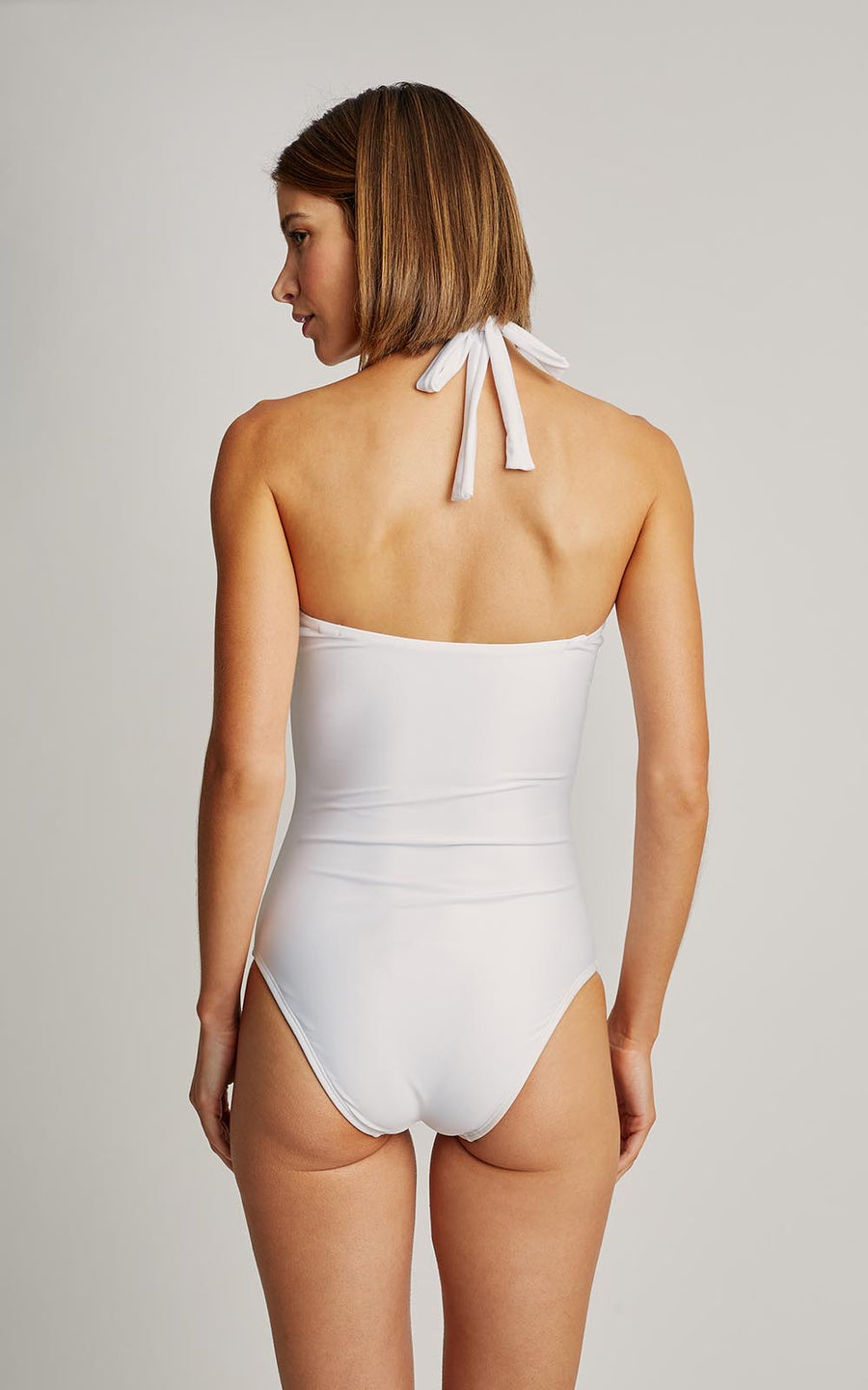 White Agate High Neck One Piece Swimsuit