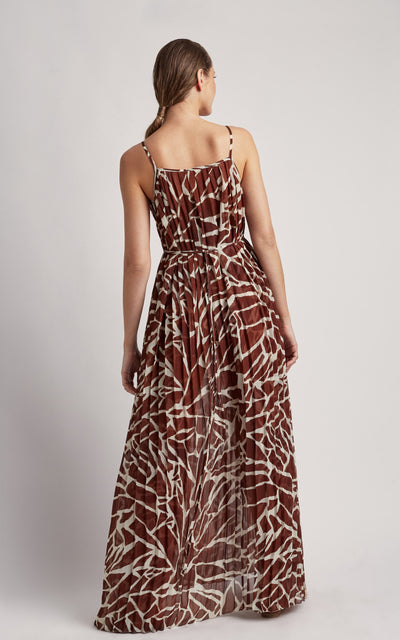 Giraffe Pleated Maxi Dress Cover-up