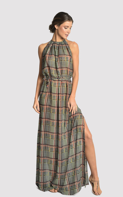 Plaid Long Frilled Cover Up