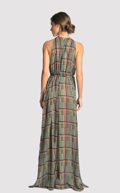 Plaid Long Frilled Dress Cover-up