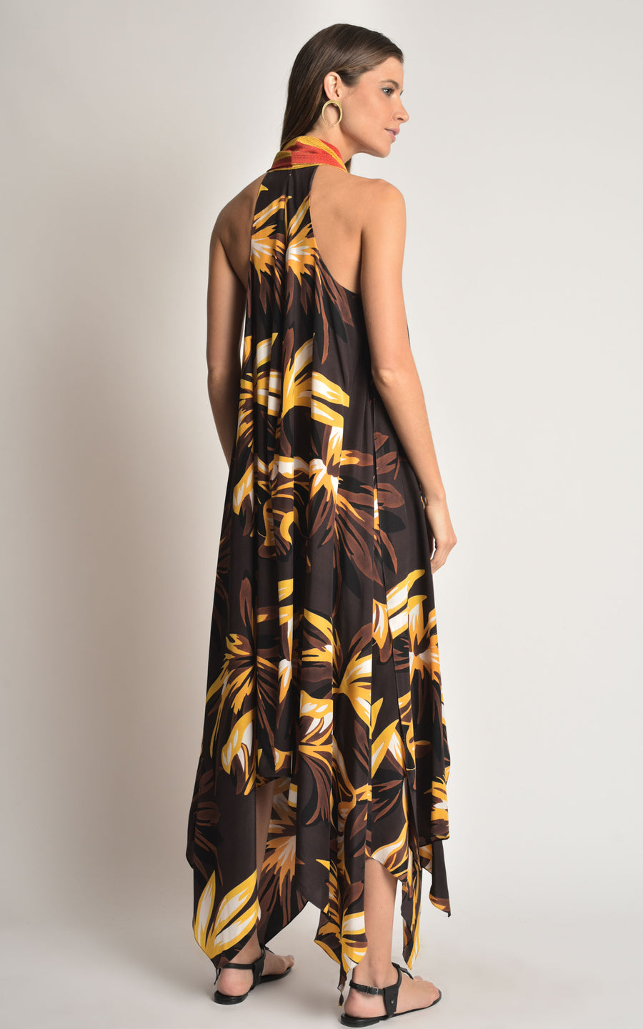 Brown Leaves Silk Maxi Dress