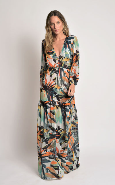 Bromeliad Buttons Ruffled Cover-Up Maxi Dresses