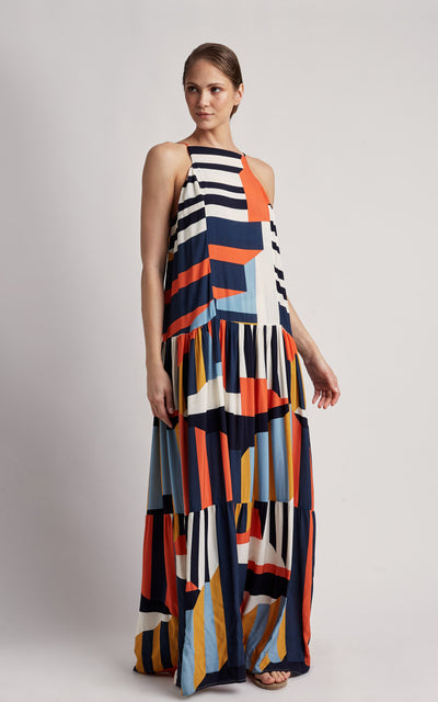 Mexico Maxi Strip Straps Dress