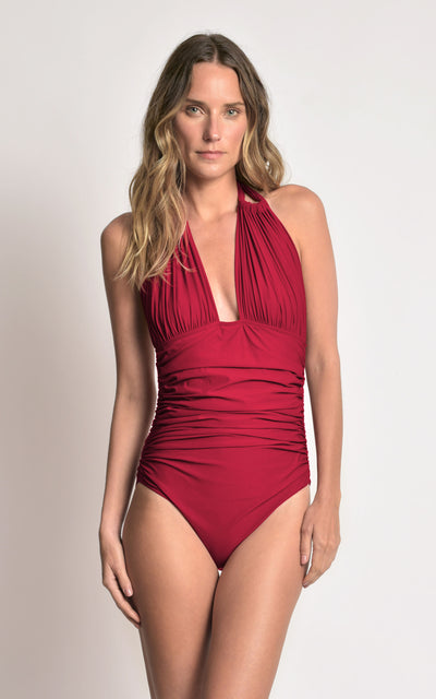 Ruby Ruched Halter One-Piece Swimsuit