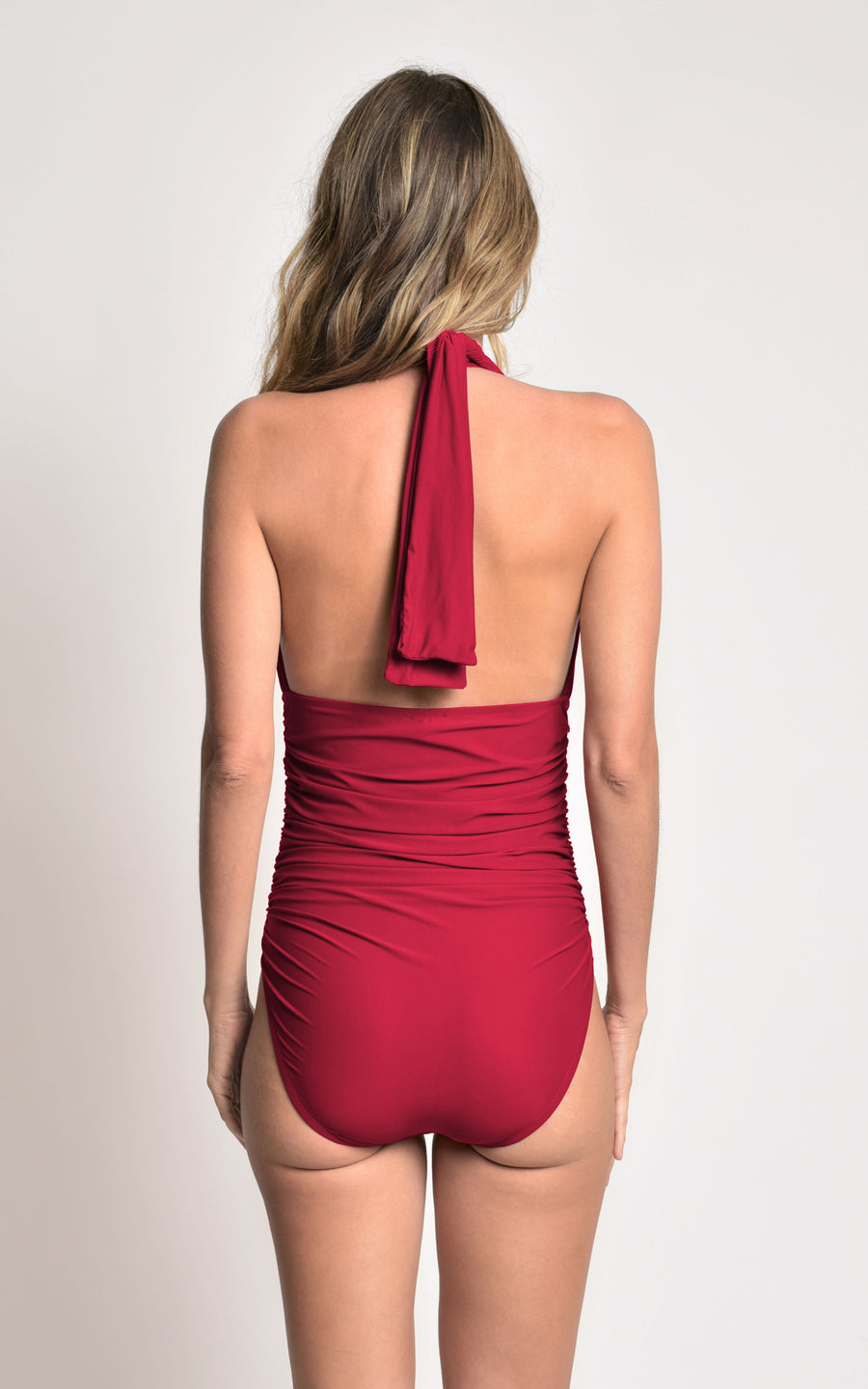 RUBY RUCHED HALTER ONE PIECE