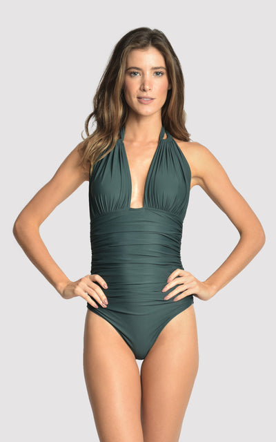 Atlantic Ruched Halter One-Piece Swimsuit