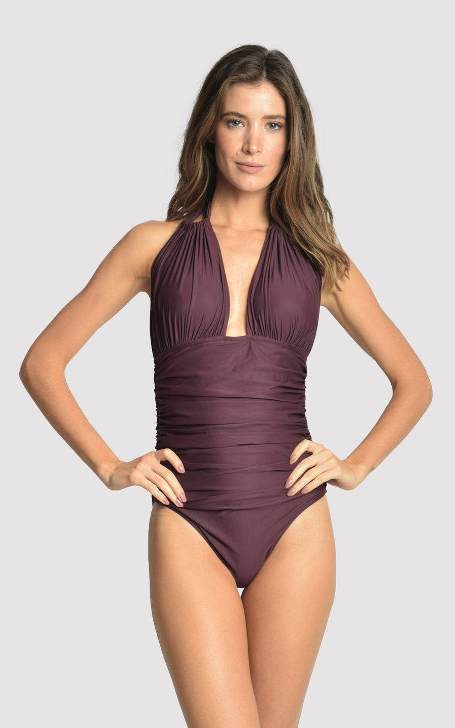 Eggplant Ruched Halter One Piece Swimsuit