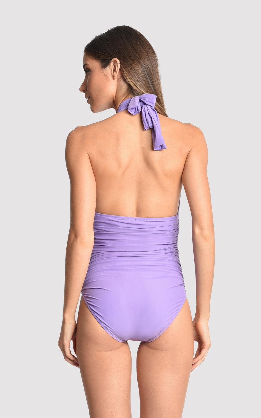Quartz Ruched Halter One Piece Swimsuit ( Sustainable Collection)