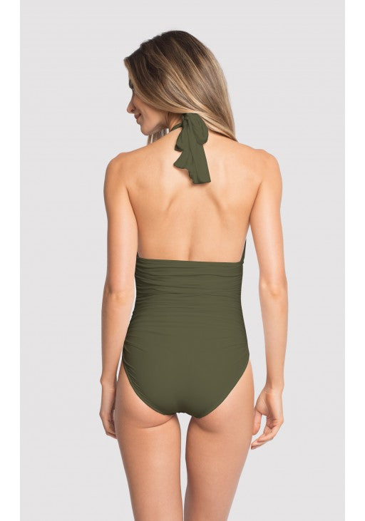 Forest Ruched Halter One Piece Swimsuit