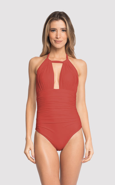 Brick Ruched Halter One Piece Swimsuit