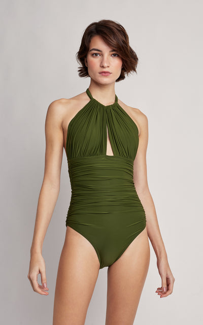 Grove Ruched Halter One Piece Swimsuit