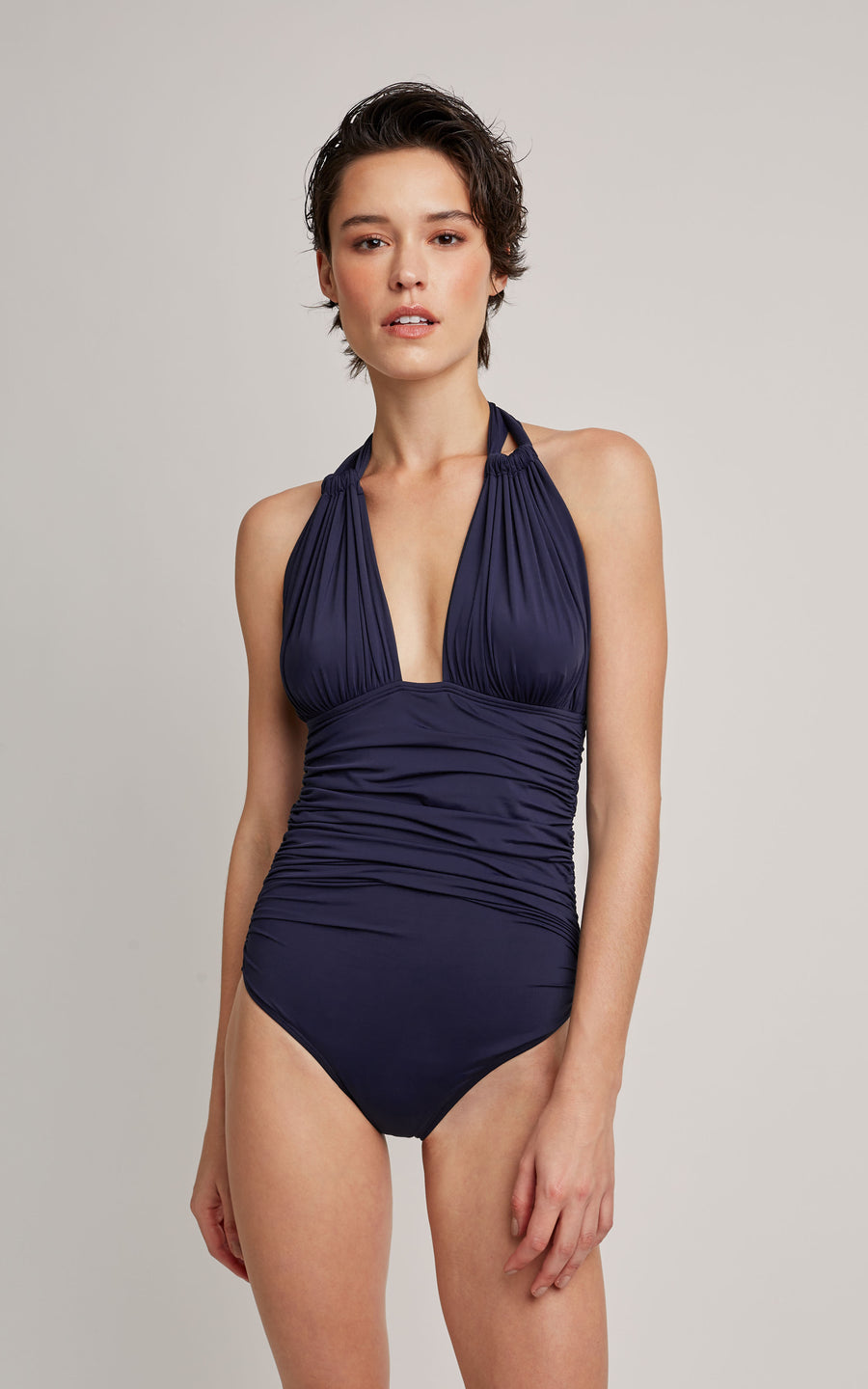Shangai Ruched Halter One Piece Swimsuit