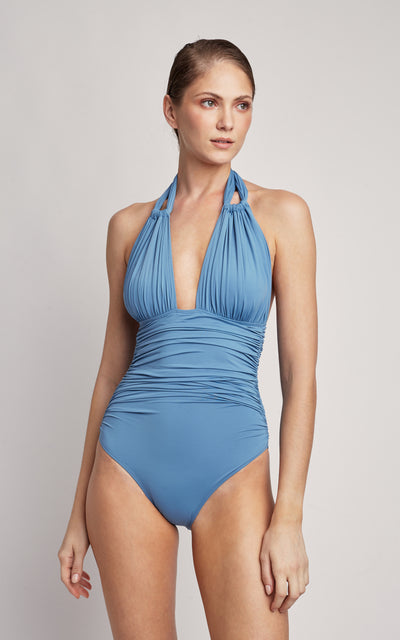 Pacific Ruched Halter One Piece Swimsuit