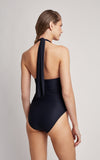Black Ruched Halter One Piece Swimsuit