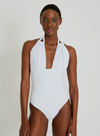 White Ruched Halter One Piece Swimsuit