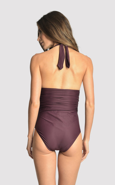 Eggplant Adjustable Halter One Piece Swimsuit