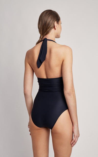 Black Adjustable Halter One Piece Swimsuit