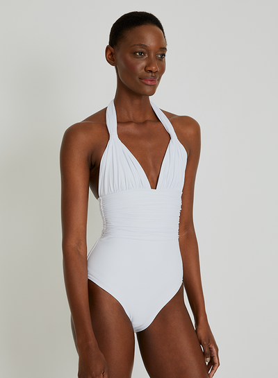 White Adjustable Halter One Piece Swimsuit