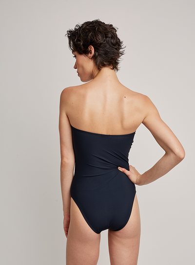 Black Drop Bandeau One-Piece Swimsuit (Sustainable Collection)