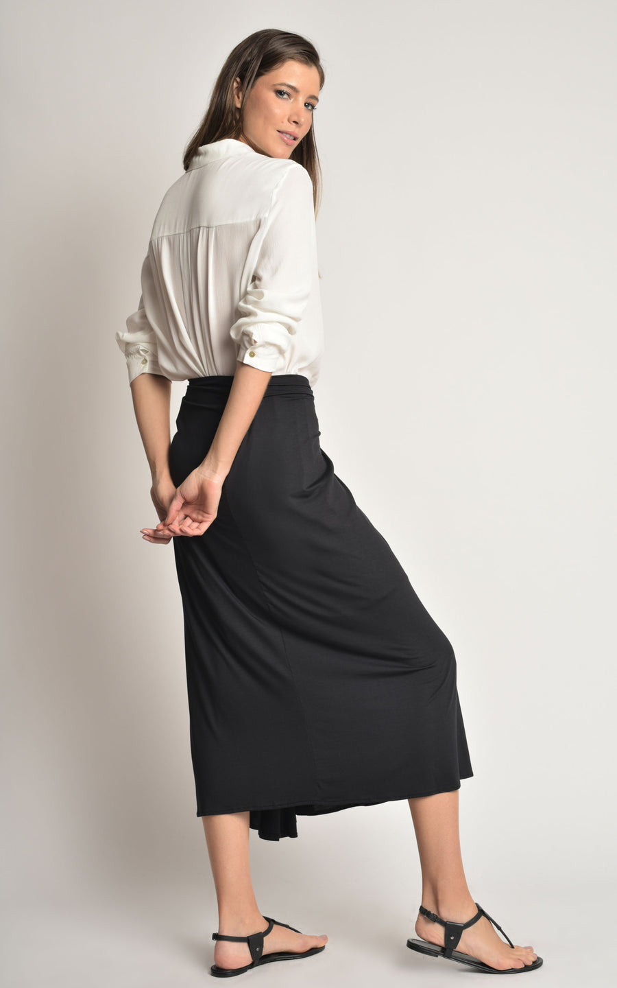 Black Tied Midi Skirt