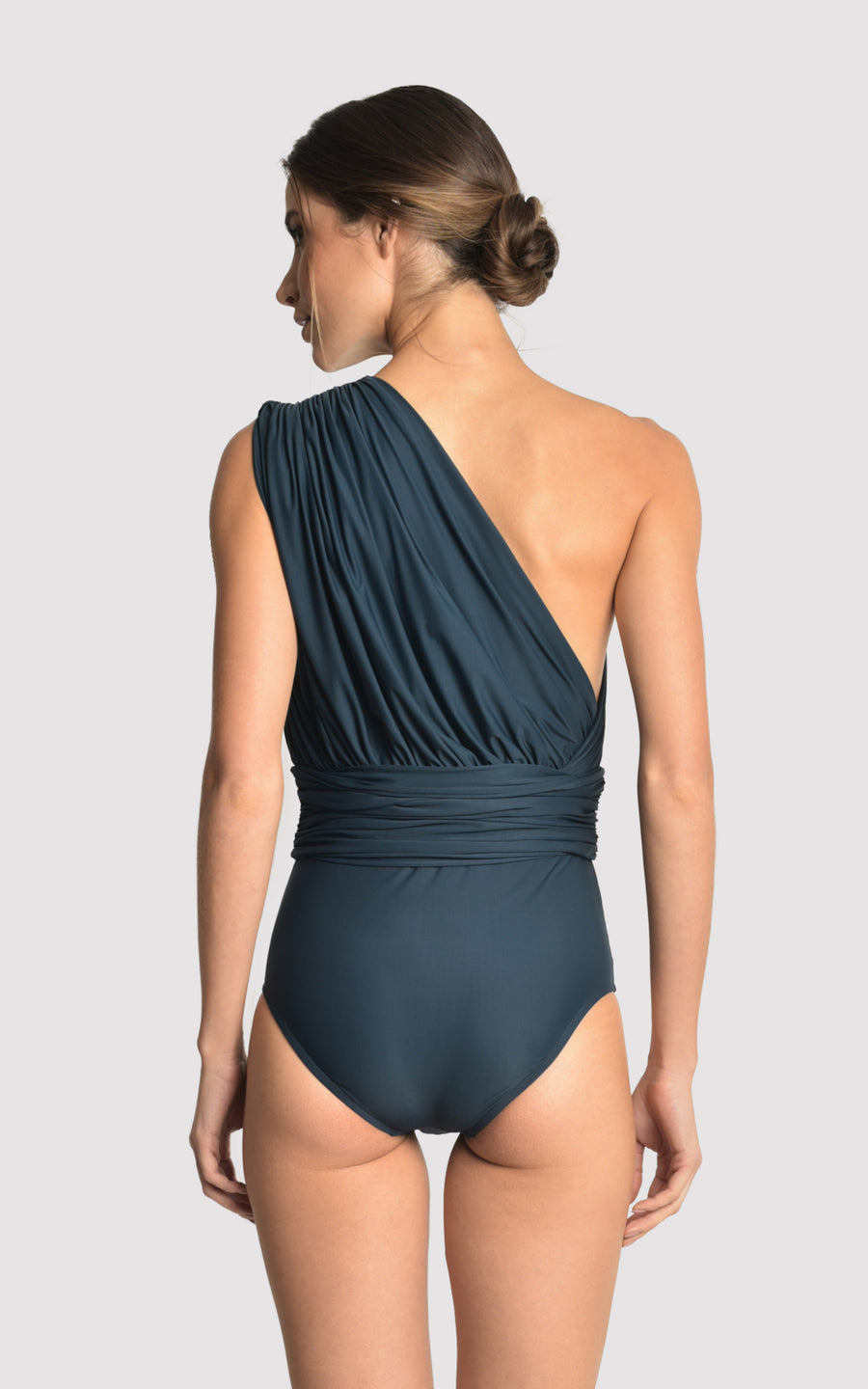Blue Star One Shoulder Draped One Piece Swimsuit