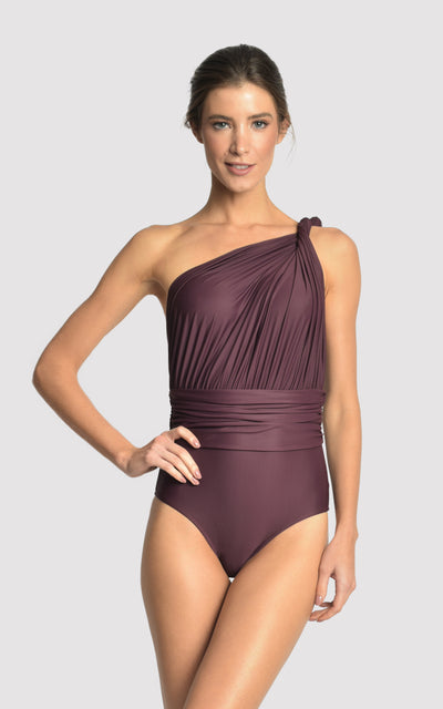 EGGPLANT ONE SHOULDER DRAPED ONE PIECE