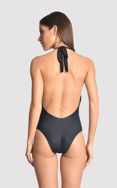 Black Deco Touch One-Piece Swimsuit V19