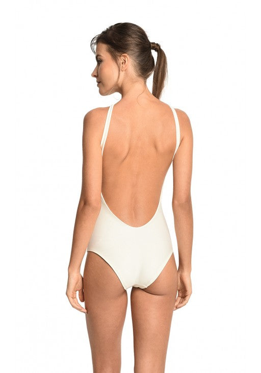 Off White High Neck Stone One Piece Swimsuit