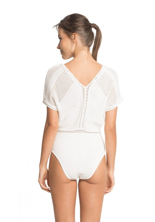 Off White Tricot One Piece Swimsuit