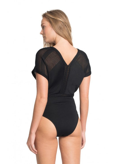 Black Tricot On-piece Swimsuit