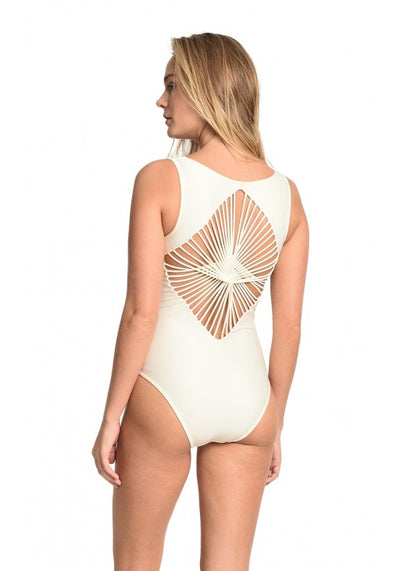 Off White Diamond Straps One Piece Swimsuit